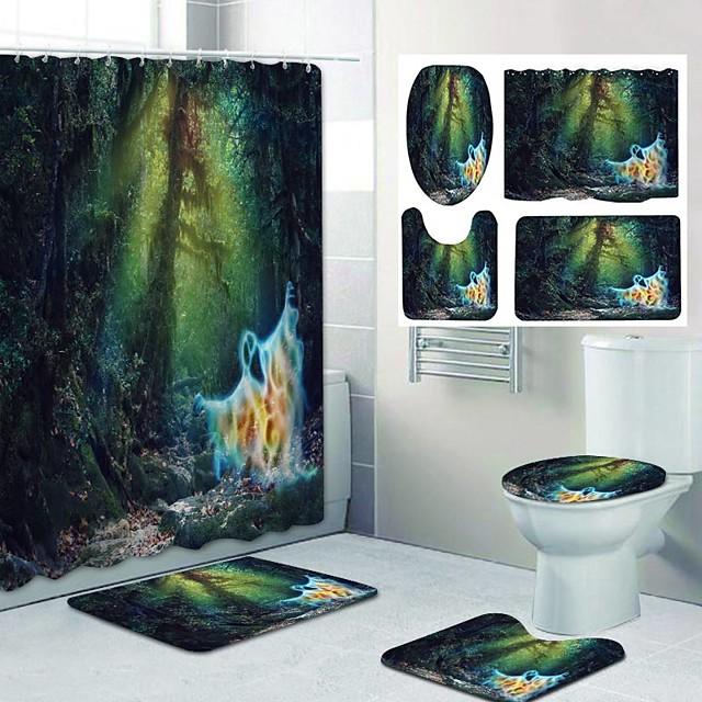 frisse kust patroon afdrukken badkamer douchegordijn vrijetijdstoilet vierdelig ontwerp