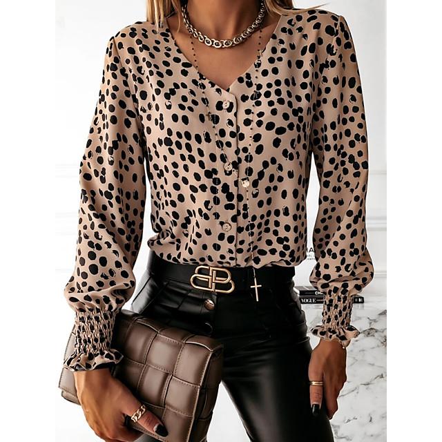 Dames Blouse Overhemd Polka dot Lange mouw V-hals Tops Slank Sexy Basis Top Wit Zwart Bruin