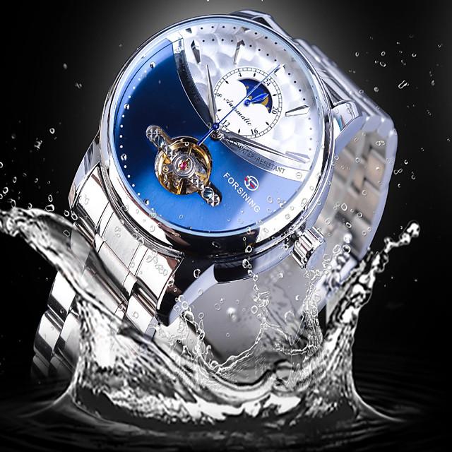 FORSINING Voor heren mechanische horloges Automatisch opwindmechanisme Vintagestijl Informeel Hol Gegraveerd Analoog Wit + gouden Zwart / geel White + hemelsblauw / Twee jaar / Roestvrij staal
