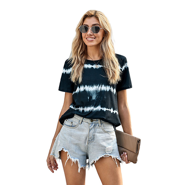 Dames T-shirt Gestreept Opdruk Ronde hals Tops Ruimvallend Basic Basis Top Zwart