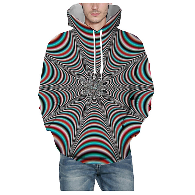 Voor heren Sweatshirt met capuchon Print Grafisch 3D Capuchon Dagelijks 3D-afdrukken Basic Hoodies Sweatshirts Lange mouw Grijs