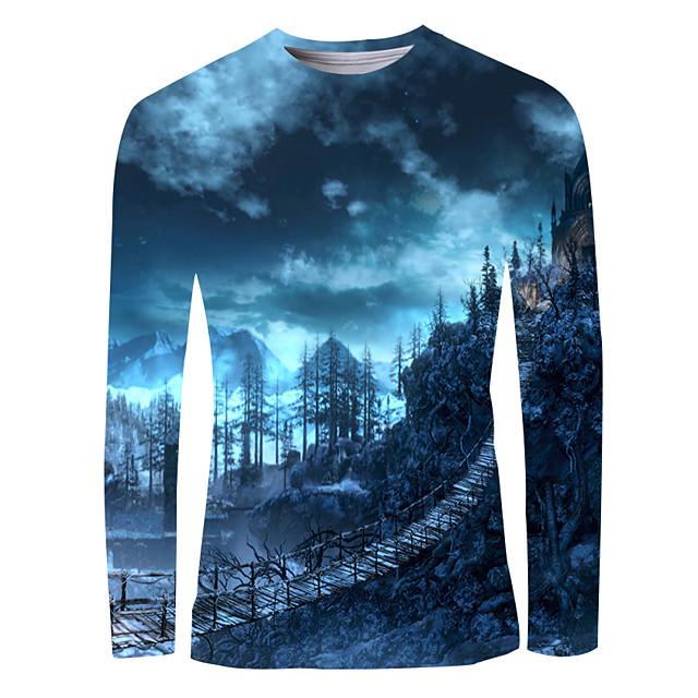 Voor heren T-shirt 3D-afdrukken Grafisch Opdruk Lange mouw Dagelijks Tops Basic Elegant blauw
