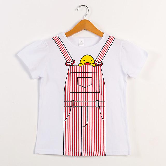 Kinderen Voor meisjes T-shirt dier Korte mouw Opdruk Tops Katoen Actief leuke Style Wit Blozend Roze