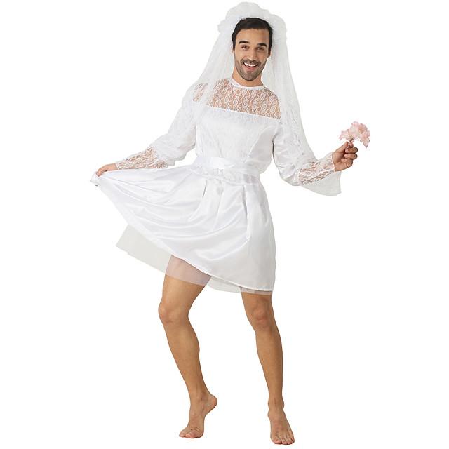 Spookachtige bruid Jurken Cosplay Kostuums Feestkostuum Volwassenen Voor heren Cosplay vakantie jurk Halloween Halloween Festival / Feestdagen Polyesteri Wit Voor heren Gemakkelijk Carnaval Kostuums