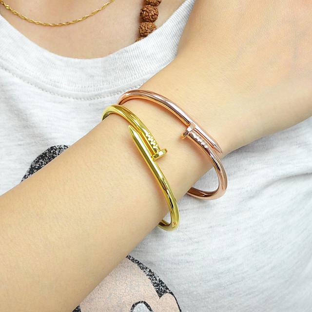 Dames Cuff armbanden Klassiek 3D Modieus Legering Armband sieraden Rose Goud / Zwart / Goud Voor Afspraakje Festival