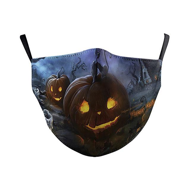 copertura per il viso casual quotidiano poliestere misto cotone a prova di polvere dorato nero e blu maschera rossa e bianca festa di halloween cosplay