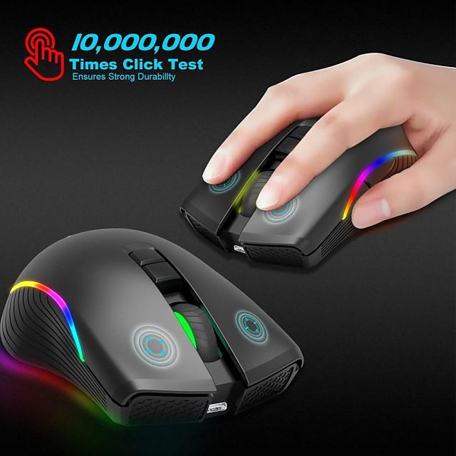 Zerodate t2 souris de jeu sans fil 2.4g souris de bureau lumière LED 2400 dpi 3 niveaux de dpi réglables 7 touches programmables