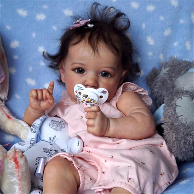 22 pouce Poupée Reborn Jouet pour Bébé & Nourrisson Bébés Fille Saskia réaliste Fabrication à la main Simulation Tissu Vinyle de silicone cadeaux noël enfant avec vêtements et accessoires pour les
