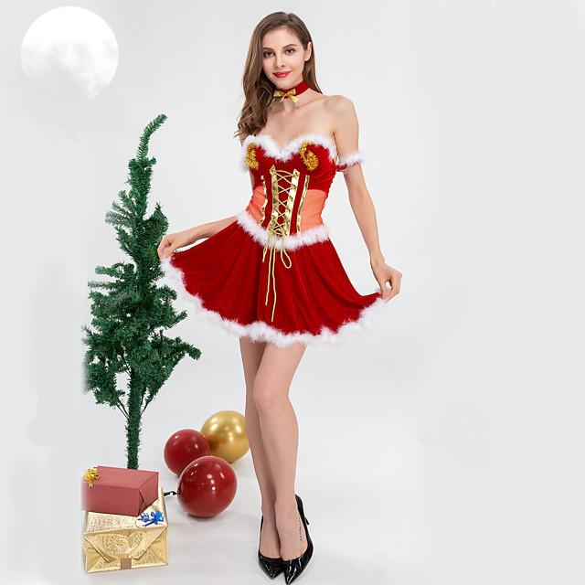 Robe Femme Adulte robe de vacances Noël Noël Velours Robe / Tour de Cou / Bracelets / Tour de Cou / Bracelets