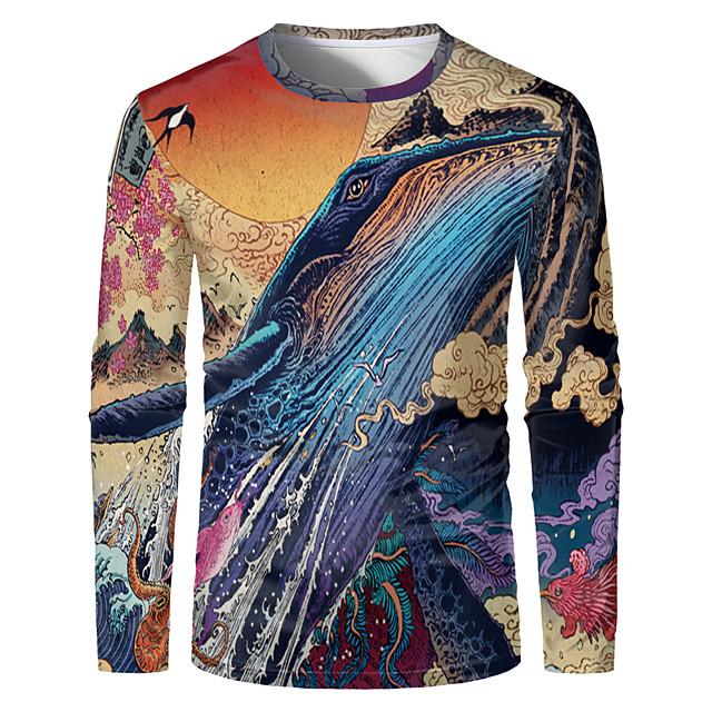 Voor heren T-shirt 3D-afdrukken Grafisch 3D Grote maten Opdruk Lange mouw Dagelijks Tops Elegant overdreven Regenboog