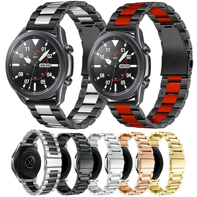 banda de reloj de metal de acero inoxidable para samsung galaxy watch 3 45mm / galaxy watch 46mm / gear s3 classic / gear s3 frontier pulsera reemplazable correa de muñeca pulsera