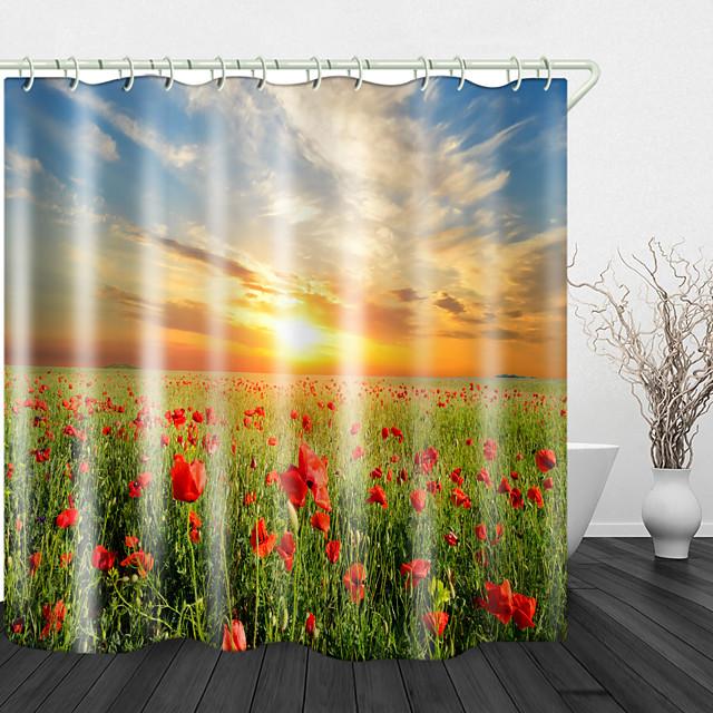 أشعة الشمس والزهور الطباعة الرقمية ستائر الدش ستائر الدش السنانير الحديثة البوليستر تصميم جديد