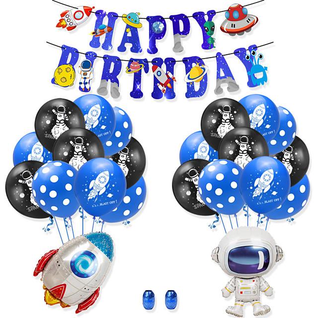 Feest ballonnen 25 pcs Raket Astronaut Gelukkige verjaardag Feest benodigdheden Latex ballonnen Banner Jongens en meisjes Feest Verjaardag Decoratie 12 Inch voor feestartikelen benodigdheden of
