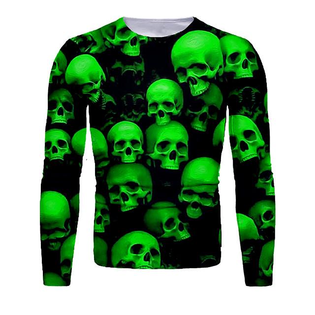 Voor heren T-shirt 3D-afdrukken Grafisch 3D Doodskoppen Opdruk Lange mouw Halloween Tops Basic Klaver