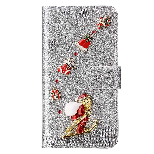 Case For iPhone 12 Pro Max Wallet Card Holder Full Body Cases Glitter  Christmas PU Leather Case For iPhone SE(2020) iPhone 11 Pro Max iPhone XR Xs Max iPhone 6s 7 8 iPhone 6S Plus 7 Plus 8 Plus