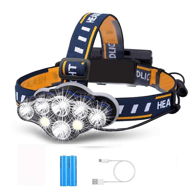 8 Lampes Frontales LED Rechargeable 1500 lm LED 8 Émetteurs 8.0 Mode d'Eclairage avec Piles avec Câble USB Rechargeable Portable Ajustable Etanche Durable Camping / Randonnée / Spéléologie Course