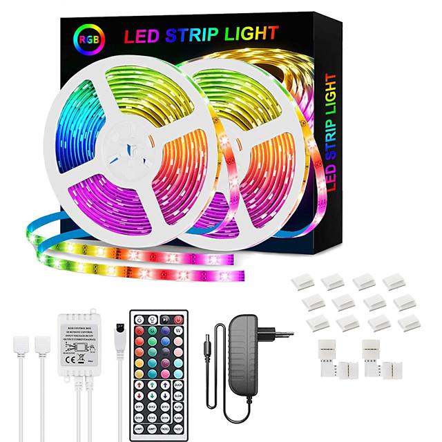 benzi cu leduri rgb 65.6ft -20m 32.8ft-10m bandă lumină smd5050 benzi led cu telecomandă cu 44 de chei și telecomandă și sursă de alimentare 12v schimbare de culoare flexibilă se aplică la petrecerea