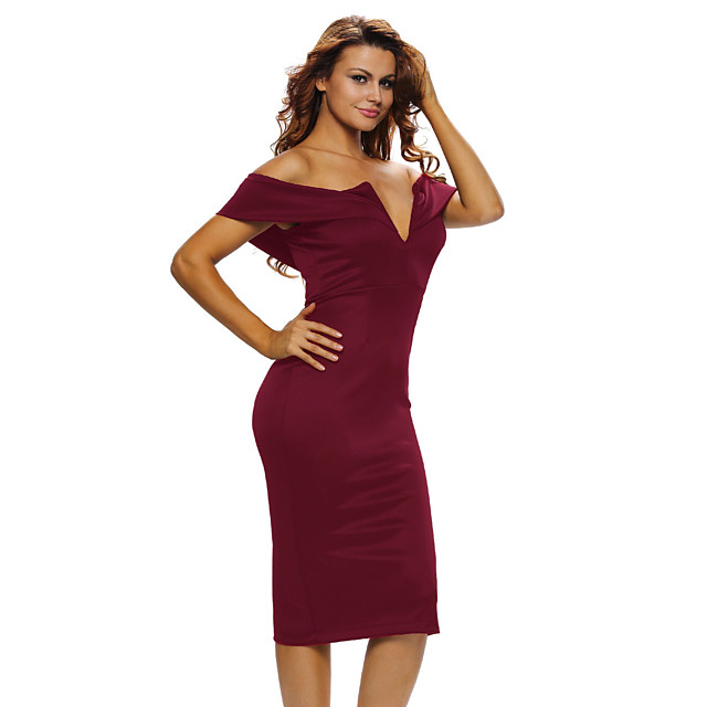Dames Strakke jurk Knielengte jurk Korte mouw Effen Kleur Blote rug Vetoketju Patchwork Lente Sexy 2021 Zwart blauw Rood Blozend Roze Wijn S M L XL XXL