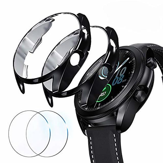kompatibel for Samsung Galaxy Watch 3 45mm skjermbeskyttelsesveske, 2 pakker støtdempende deksler til skjermen og skjermbeskytter i full dekning for Galaxy Watch 3 (svart + svart, 45mm)
