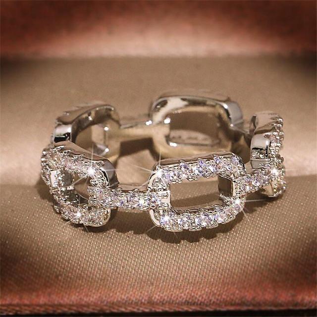خاتم الماس الصغيرة فراغ خارجي أبيض مطلية بالذهب تقليد الماس وردة موضة 1PC 7 8 9 / نسائي