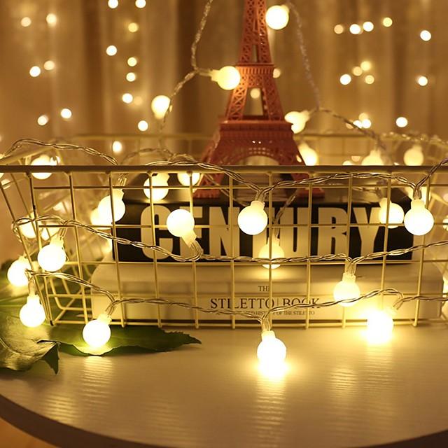 5 m luci stringa 50 led 6 mm 1 set bianco caldo natale festa di capodanno decorativo decorazione di nozze di natale 5 v