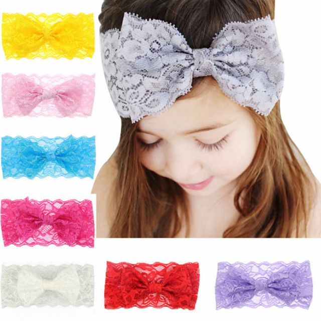 1pcs Toddler / Infant Girls' Basic White / Blue / Red Solid Colored Bow / Pure Color Spandex / Cotton Hair Accessories White / Blue / Purple One-Size