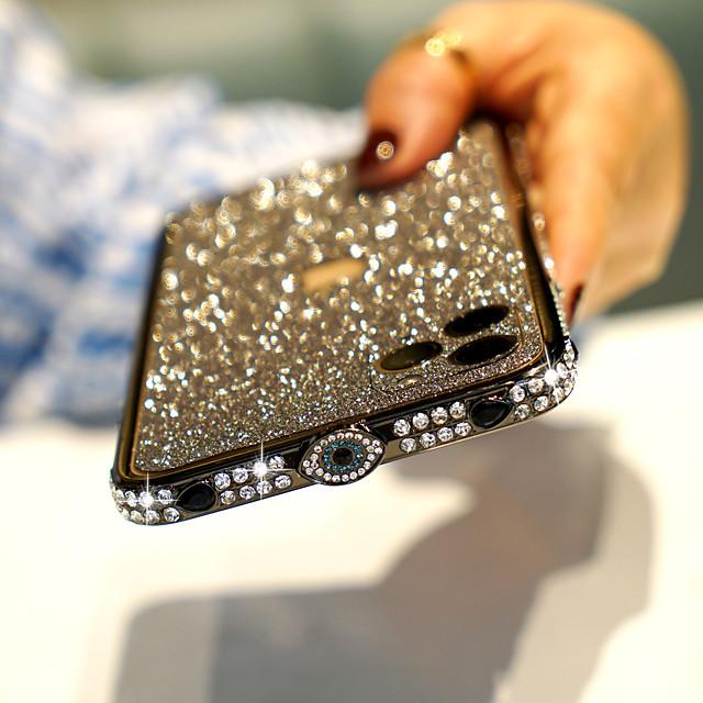 telefono Custodia Per Apple Antiurto iPhone 12 Pro Max 11 SE 2020 X XR XS Max 8 7 Resistente agli urti Con diamantini Tinta unica Metallo