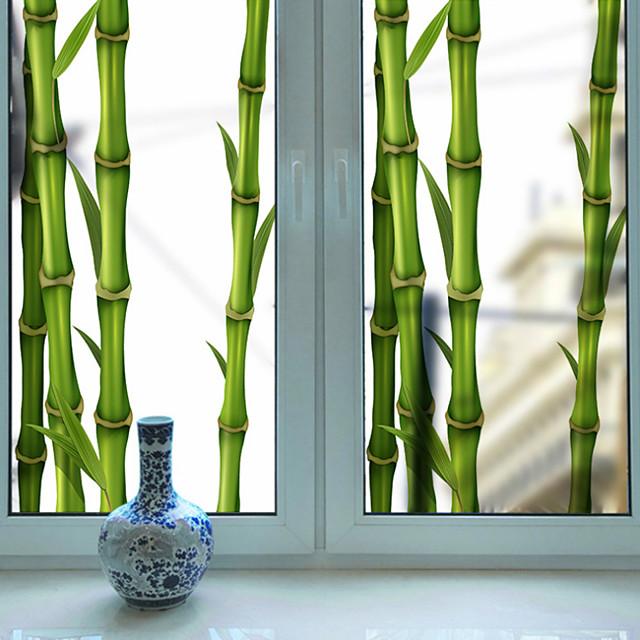 frostet privatliv grønt bambus mønster vindu film hjem soverom bad glass vindu film klistremerker selvklebende klistremerke