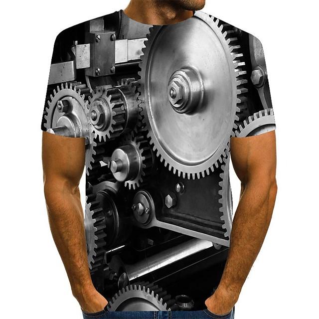 Homme T-shirt Impression 3D Graphique Grandes Tailles Imprimé Manches Courtes Quotidien Hauts Chic de Rue Noir
