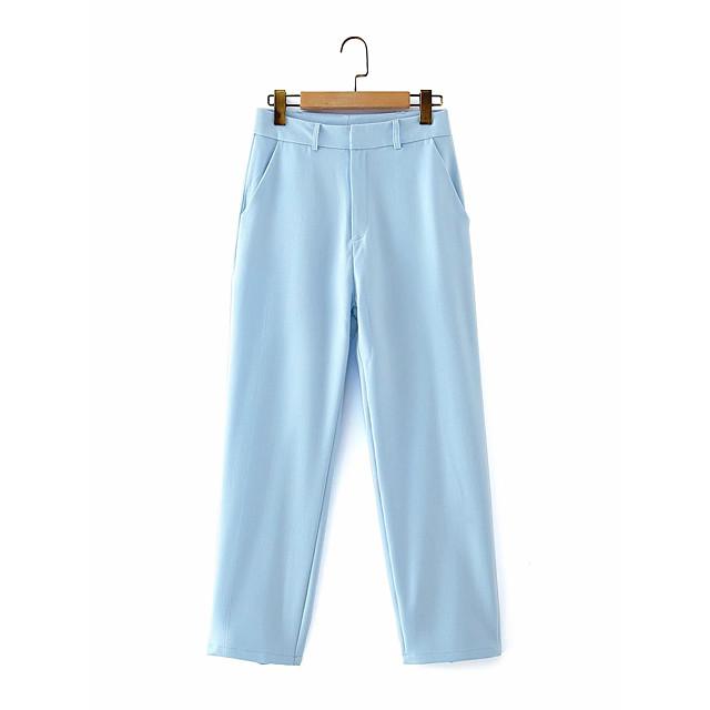 Dames Basic Street chic Comfort Dagelijks Uitgaan Pakken Broeken Broek Effen Volledige lengte Zak Licht Blauw