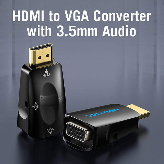Vention HDMI to VGA Adapter HDMI Male to VGA Felame HD 1080P Audio Cable Converter With 3.5 Jack for PS4 Laptop PC Box Projector