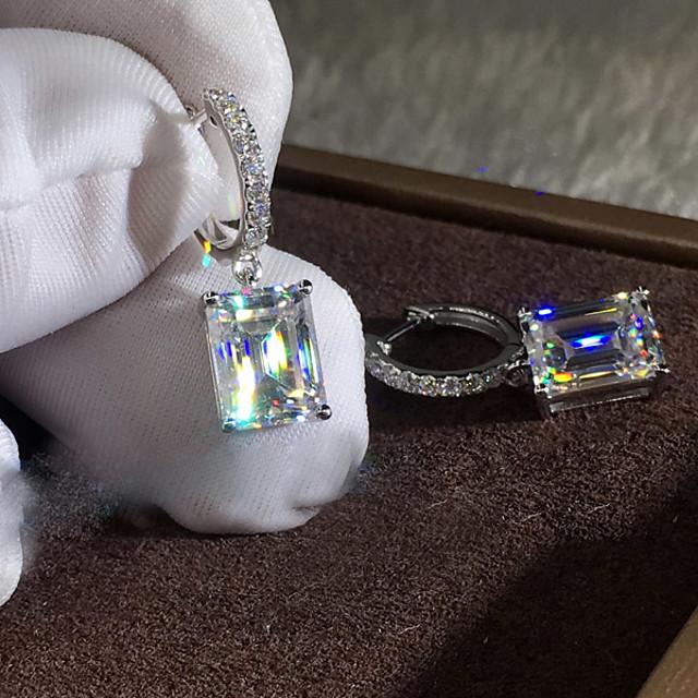 Damskie Cyrkonia Kolczyki Hoop Radiant Cut Moda Elegancki Prosty Kolczyki Biżuteria Srebrny Na Impreza / Wieczór Urlop 1 para