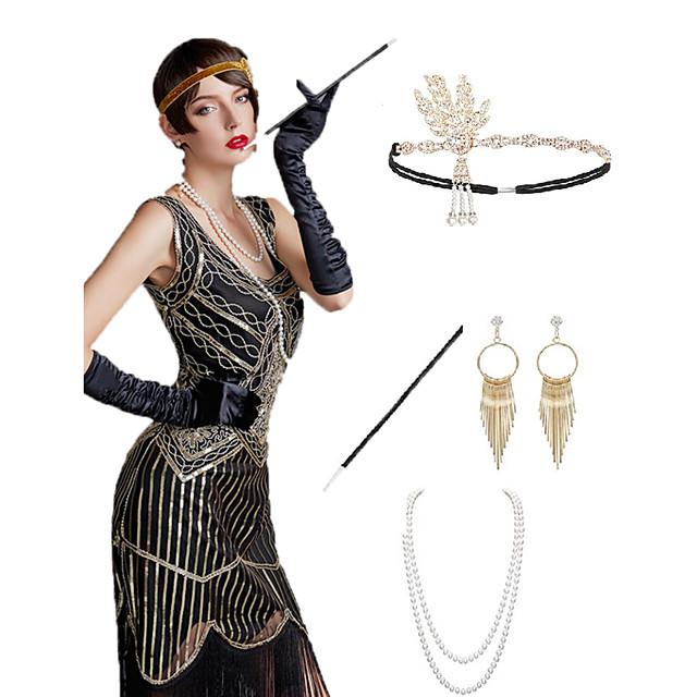 Gatsby Charleston Années 1920 Gatsby Les rugissantes années 20 Ensembles d'accessoires de costume Gants Bandeau Garçonne Femme Franges Costume Bijoux de Cheveux Boucles d'Oreille Collier de perles