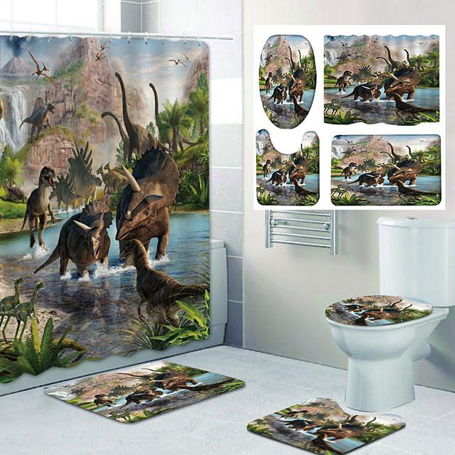 ديناصور نمط معركة printingb bathroom دش الستار الترفيه تصميم أربع قطع المرحاض