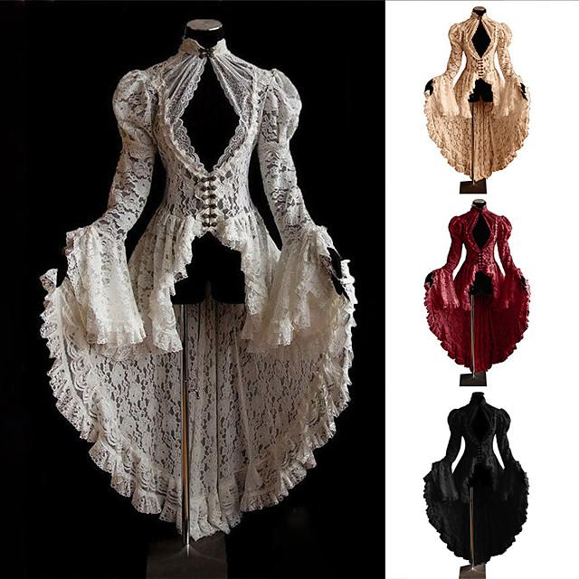 Kobieta Outlander Średniowieczne Renesansowa Sukienka Bal maskowy Damskie Kostium Biały / Czarny Postarzane Cosplay Impreza Halloween Długi rękaw