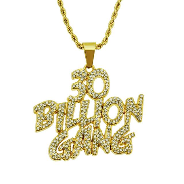 Herr Långt halsband Kubansk länk Alphabet Form Europeisk Legering Guld Silver 75 cm Halsband Smycken 1st Till Födelsedagsfest