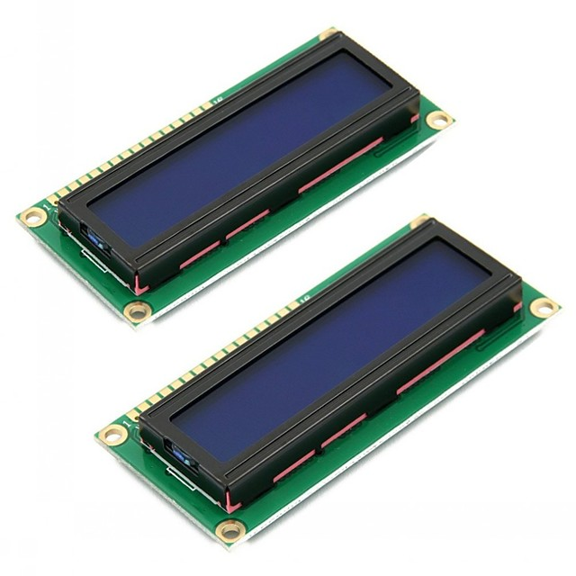 2 stuks 1602 lcd-schermmodule DC 5V 16x2 karakter LCM blauw