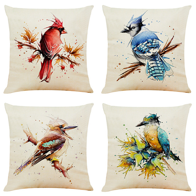 Set of 4 Creative Watercolor Bird Linen Square Decorative Throw Pillow Cases Sofa Cushion Covers 18x18