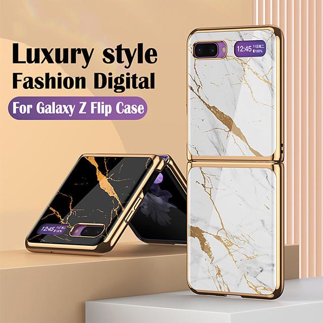 telefono Custodia Per Samsung Galaxy Per retro Custodia flip Galaxy Z Flip Resistente agli urti Placcato Con chiusura magnetica Paesaggi Geometrica Effetto marmo TPU Vetro temperato