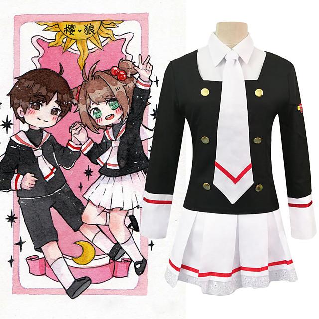 Inspiré par Capteur de carte Kinomoto Sakura Manga Costumes de Cosplay Japonais Costumes Cosplay Chemise Haut Jupe Pour Femme / Cravate