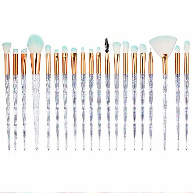 20 stks diamant make-up kwasten set fan poeder oogschaduw contour schoonheid cosmetische kleurrijke voor make-up tool (wit)