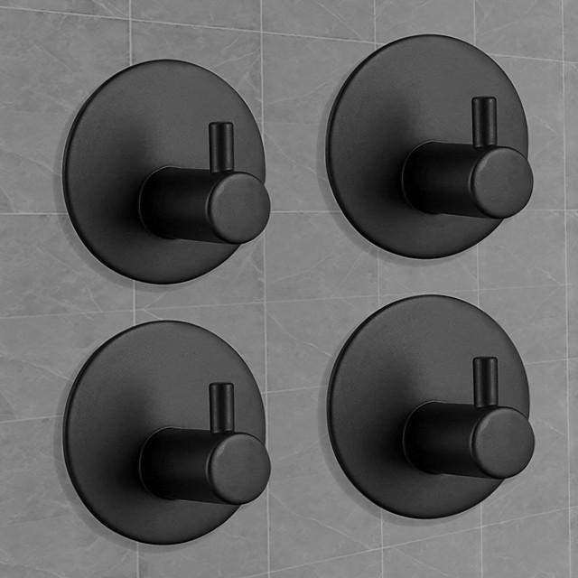 ganci da parete autoadesivi neri opachi, ganci per accappatoio neri da cucina in acciaio inossidabile, portasciugamani gancio da parete adesivo, ganci per asciugamani da bagno 4 confezioni