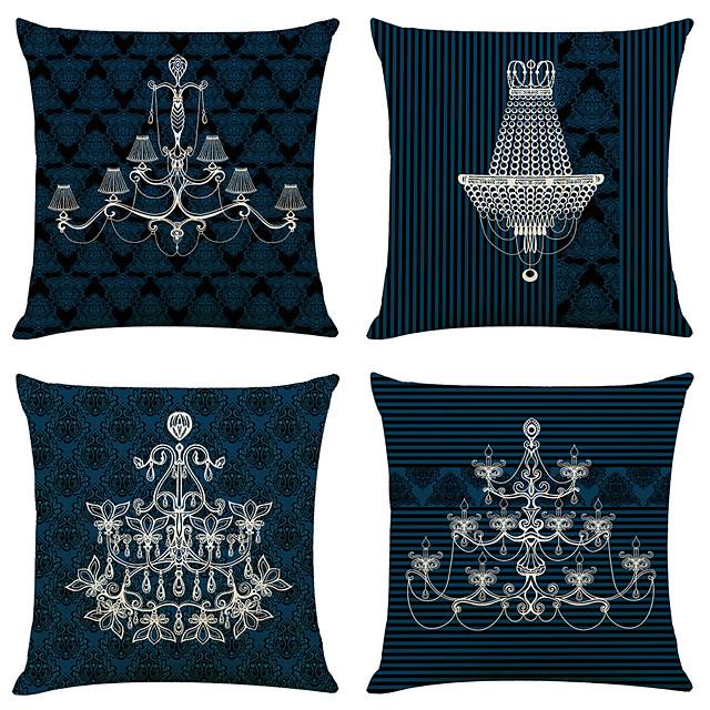 set van 4 europese stijl kroonluchter linnen vierkante decoratieve sierkussen gevallen sofa kussenhoezen 18x18