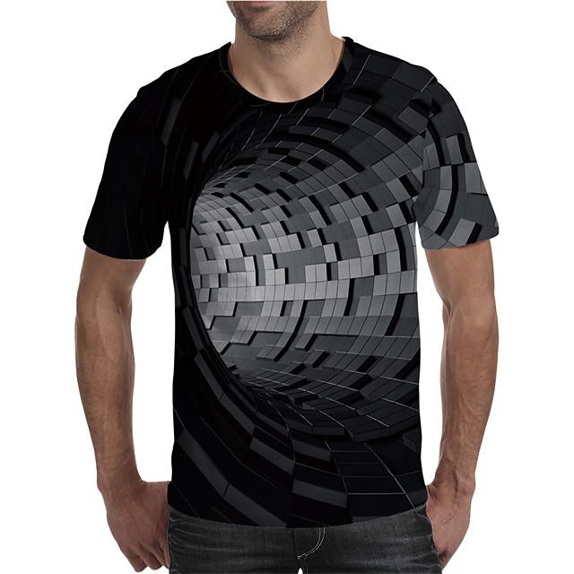 Voor heren T-shirt 3D-afdrukken Grafisch 3D Grote maten Opdruk Korte mouw Dagelijks Tops Elegant overdreven Zwart