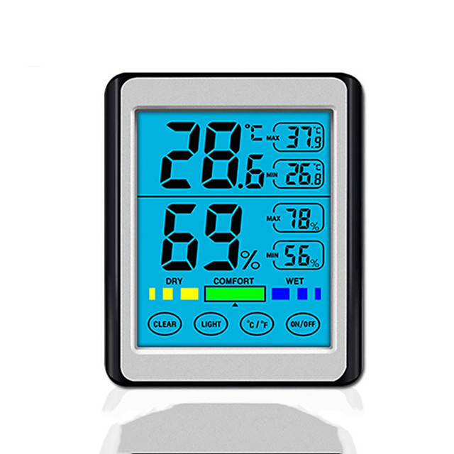 touchscreen elektronische digitale display temperatuur en vochtigheid instrument nieuw product ch-914 hoge precisie huishoudelijke indoor lichtgevende thermometer