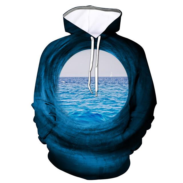 Voor heren Trui met capuchon Grafisch Dagelijks Uitgaan 3D-afdrukken Informeel Hoodies Sweatshirts blauw Paars Grijs