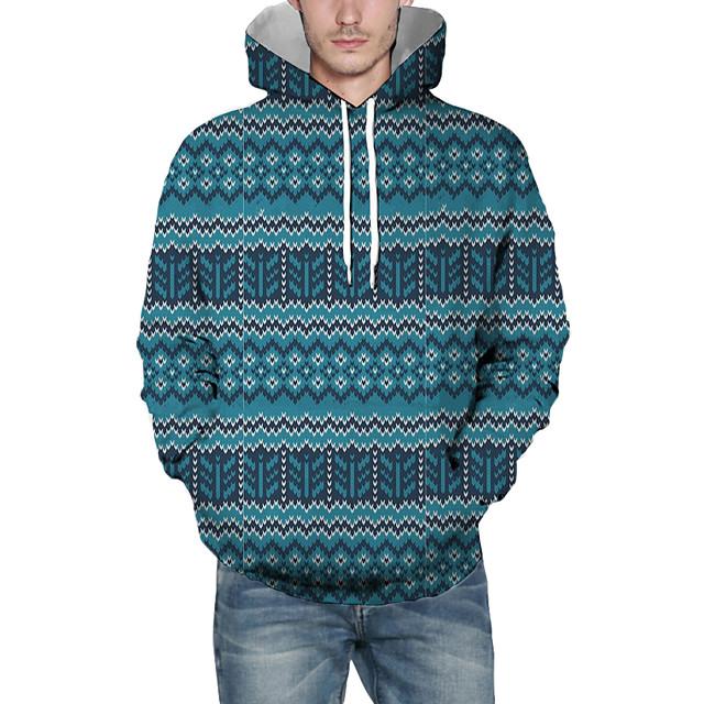 Voor heren Kerstmis Sweatshirt met capuchon Lijnen / golven 3D Grafisch Capuchon Kerstmis Hoodies Sweatshirts Lange mouw Marineblauw