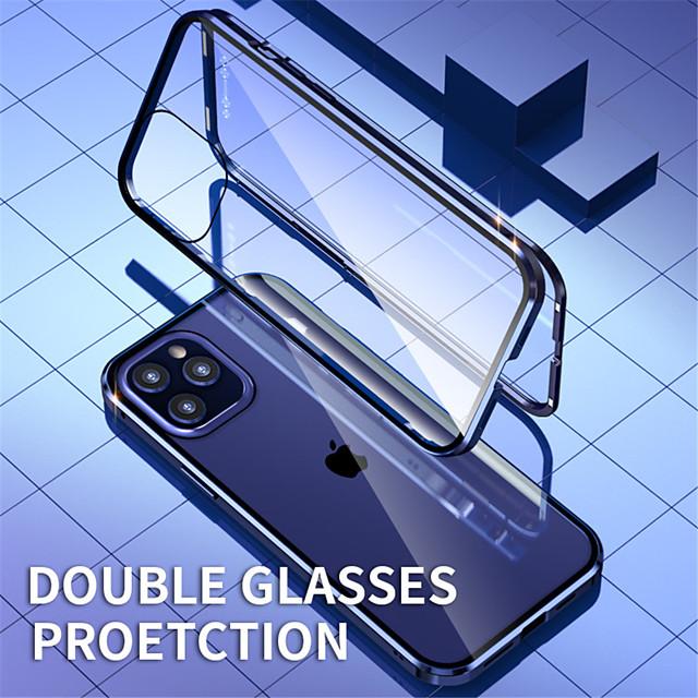 mágneses tok Apple iphone 12 / iphone 12 mini / iphone 12 pro max kétoldalas üveg 360 védelem ütésálló tiszta mágneses adszorpciós tok iphone 11 / x / xs xr xs max 7 plus / 8 plus