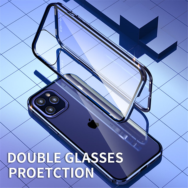 магнитный чехол для apple iphone 12 / iphone 12 mini / iphone 12 pro max двухстороннее стекло 360 защита противоударный прозрачный магнитный адсорбционный чехол для iphone 11 / x / xs xr xs max 7