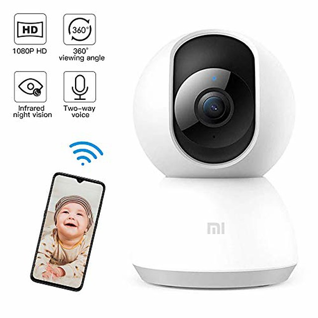 monitor mi bady, telecamera ip di sicurezza domestica hd 1080p telecamera per animali domestici wifi wireless con rilevamento di suoni / movimenti, rilevamento del movimento, visione notturna, audio